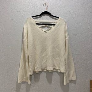 Topshop Sweaters - Topshop white bell sleeve sweater